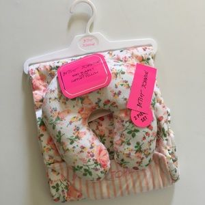 Betsey Johnson Baby Blanket & Support Pillow Pink